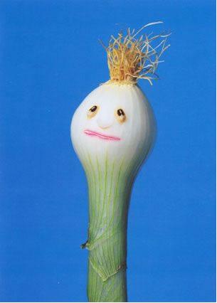 sad guy made of spring onion