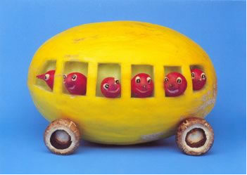 cherries riding in mashmelon bus