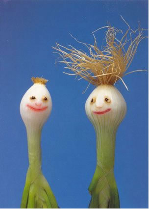 happy people made of spring onions
